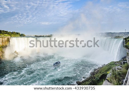 Ship in front of Horseshoe Fall, Niagara Falls, Ontario, Canada  #433930735