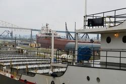 Ship in Soo Locks at St. Marys River, Sault Ste. Marie, Michigan