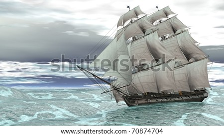ship in stormy sea - stock photo