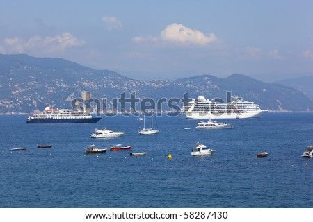 ship in the harbour of portofino