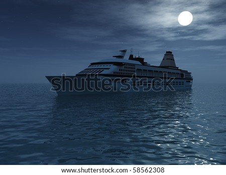 Ship in the Moon light.