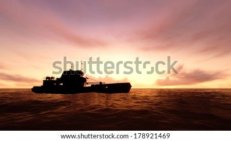 Ship in the ocean wave with sunset.