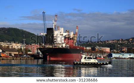 ship in the port of la spezia