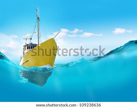 Ship in the sea.