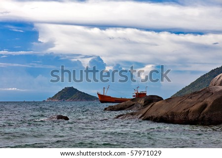 Ship in the sea in evening time. Thailand