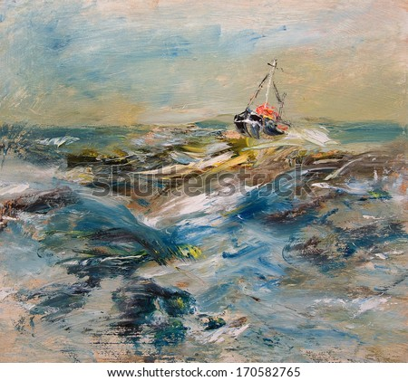 Ship in waves, oil painting