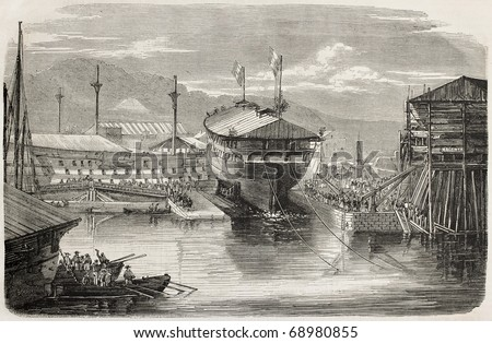 Ship launching: screw vessel La Guerriere, in Brest harbour, France. From drawing of Lebreton after photo of Mangel Dumensil, published on L'Illustration, Journal Universel, Paris, 1860