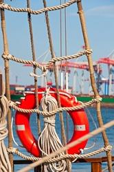 Ship Lifebuoy with rigging. Closeup.