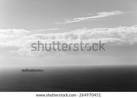 Ship Ocean Birdseye  Black White\ Ship travels open ocean seas overlooking birds-eye in black white vintage contrasts