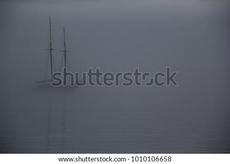 Ship on a foggy morning, ghost ship in fog #1010106658