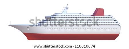ship on a white background - stock photo
