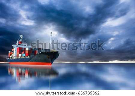 ship on storm sky import export goods to custom. #656735362