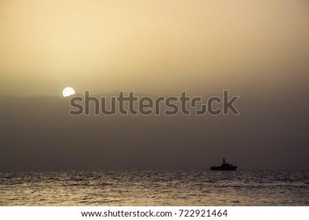 Ship on The Gulf of Aqaba Zdjęcia stock ©