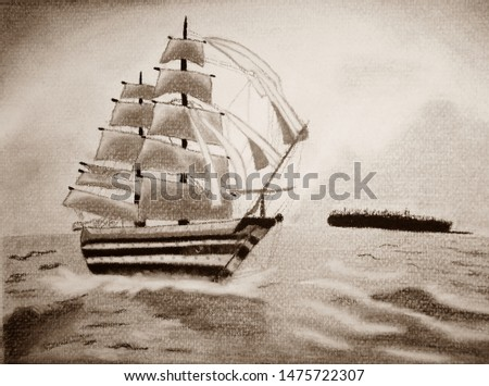 Ship on the sepia sea with land