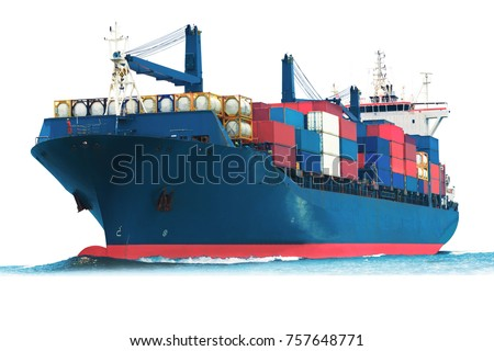 ship on white background with container isolate for logistic transportation concept.