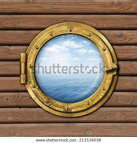 royalty free boat window or porthole on wood wall 182536064 stock photo. Black Bedroom Furniture Sets. Home Design Ideas