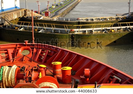 ship passes through a sluice in the Panamanian channel