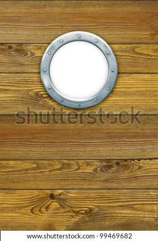 Ship porthole - hole frame, isolated on white. Ship window on the old nautical vessel. Round hole with metal frame on the wooden wall at the yacht. - stock photo