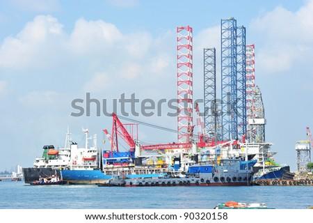 Ship Repair Yard With Lifting Cranes