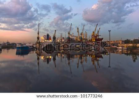 Ship repairing yard in Saint Petersburg, Russia