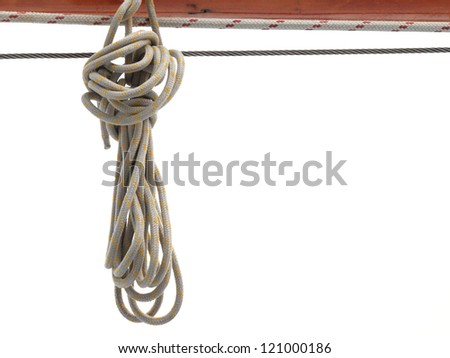 Ship rigging rope on old yacht vintage