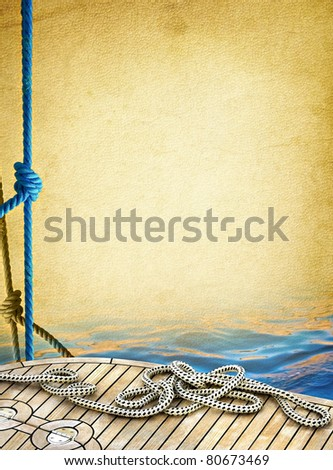 Ship rope on the old paper background. Sailboat ropes and wooden deck of the sea - vintage textured background. Marine design frame with elements of yachting.