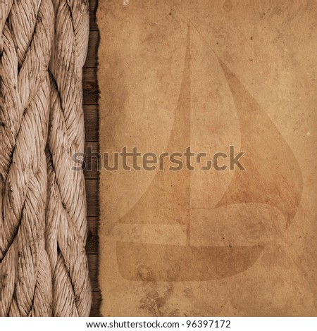 ship ropes at parchment old paper background texture - stock photo