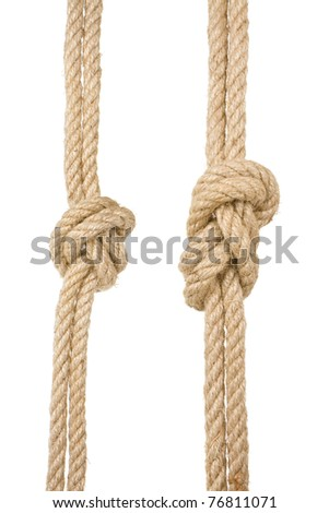 ship ropes with a knot isolated on white background - stock photo