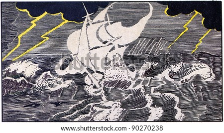 "ship sailing on the waves in a stormy sea, illuminated by lightning from the heavy clouds, Illustration by Dmitry Mitrokhin, a fairy tale ""Ghost Ship"", publisher Joseph Knebel, Moscow, Russia, 1912"