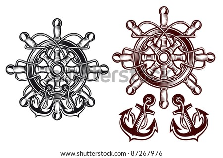 Ship steering wheel for heraldic design with anchors. Vector version also available in gallery