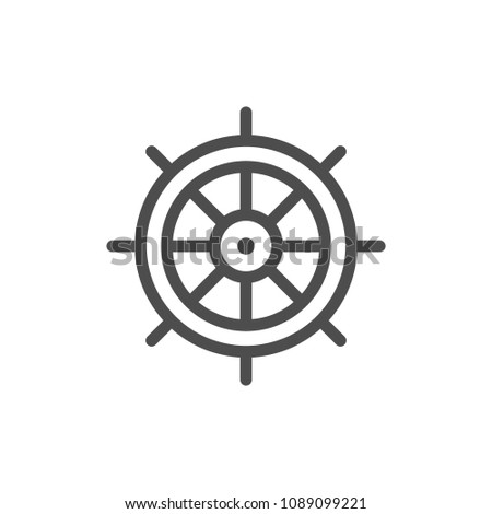 Ship steering wheel line icon isolated on white