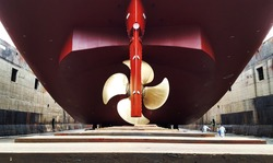 ship stern and propeller at drydock