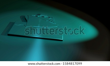 Ship symbol. Symbolism for a boat, nautical vessel or cruise. Black and blue colors. 3D rendering of a metallic icon. Surface made of stainless steel. 16:9.