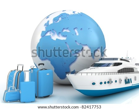Ship traffic with a globe and luggage