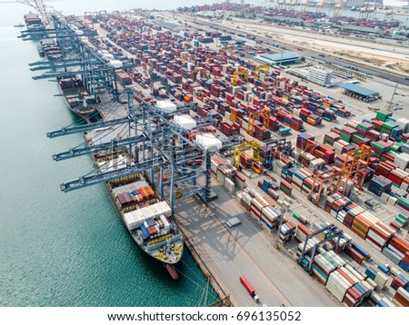 ship vessel are loading and discharging operations of the transhipments cargo with containers yard working transit in international port