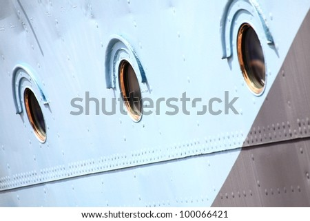 Ship window steel blue background outdoor colour