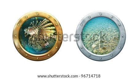 Ship windows - two portholes with seascape. Metal frames border of submarine porthole. Nautical underwater concept for your maritime interior.