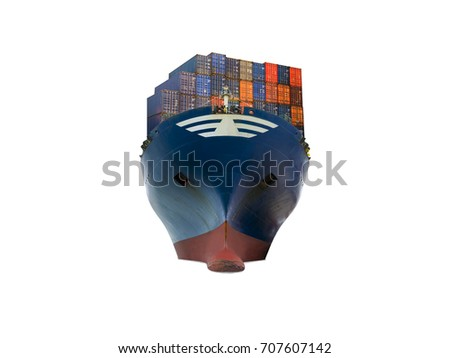 ship with container vessel go to international terminal port with throughput Capacity import export goods Far Eastern Freight Conference client concept worker team of business.