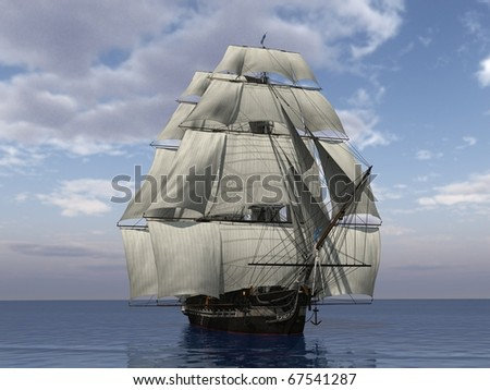 ship with sails in the ecean - stock photo