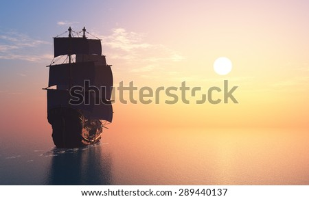 Ship with sails in the sea.