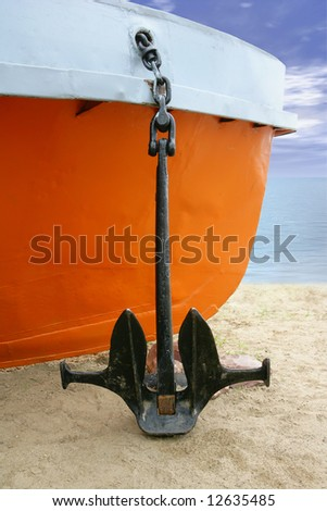 ship with the anchor on the coast