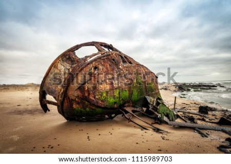 Ship Wreck along the Skeleton Coast in Western Namibia taken in January 2018 #1115989703