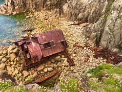 Ship Wreck at Land's End, Cornwall, England