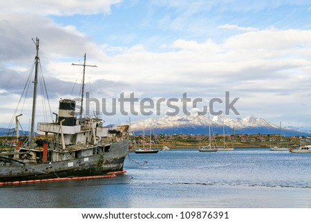 Ship wreck in the Beagle Channel in Ushuaia, Patagonia, Argentina