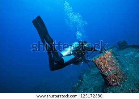 Ship wreck with diver back ground,Liuqiu, Pingtung County, Taiwan