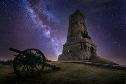 Shipka Monument (Monument of The Liberty) is a monumental construction, located at Shipka peak in Stara Planina mountain, near town of Shipka, Bulgaria at sunset.