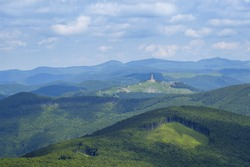 Shipka tower view from mount Buzludza, Bulgaria 2