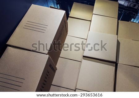 Shipment Delivery. Pile of Cartoon Boxes Inside Cargo Van Area. Courier Delivery.