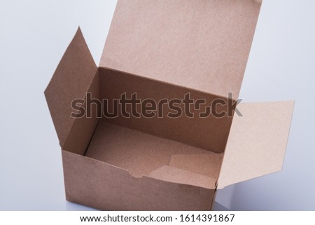 Shipping box, empty carton carton package. Delivery mail on white background.