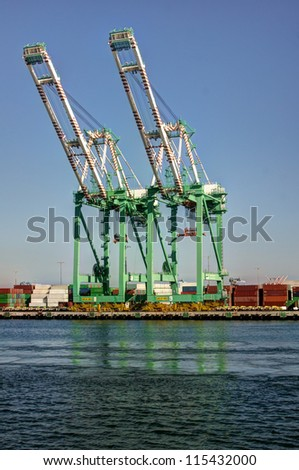 Shipping cargo crane and containers in San Pedro (Port of Los Angeles) - stock photo